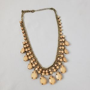 Peach and Gold Colored Neaded Necklace